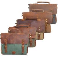 """Men Real Leather Canvas Messenger Shoulder Bag Satchel 14"""" Laptop Cross Body Bag"""