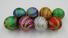 "Christmas Tree Ornaments Toys 8pcs ""Balls Ribbed Green Red Blue Gradient"""