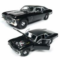 "AUTOWORLD AMM1178 1969 CHEVROLET NOVA BLACK ""MCACN"" DIECAST MODEL CAR 1:18"