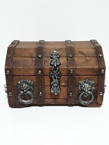 Vintage Wood Pirate Treasure Chest Jewelry Box Gothic Lion Head Rings Red Felt