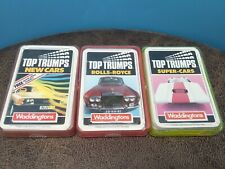 3 Packs Top Trumps SUPER CARS, NEW CARS & ROLLS ROYCE Waddingtons W. Germany
