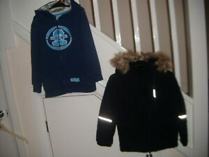 Boys Winter Coat and Hoodie Bundle. Age 5-6. Blue and Black
