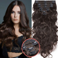 Double Weft Thick Wavy Clip In Remy Russian Human Hair Extensions Full Head USPS