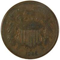 1865 Two Cent Piece F Fine Bronze 2c US Type Coin Collectible Civil War Era