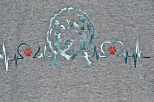 Golden Doodle Heartbeat Hey Dood Teal with Red Paws Heather Gray Tshirt – Large