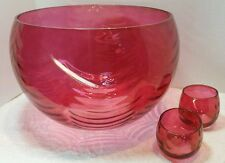 West Virginia Glass  Rose Lustre-Loop Optic Punch Bowl 12 glass Roly Poly Set -