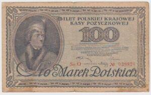 Poland 100 Marek dated 1919 P17 VG+