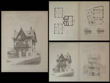 VILLA A PUY-VARIN - PLANCHES ARCHITECTURE 1890 - JULES CELLIER