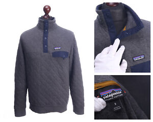 PATAGONIA Grey Organic Cotton Quilted Snap T Jumper Sweater Size S