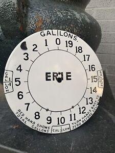 1920's ERIE CLOCK FACE GAS PUMP PORCELAIN SIGN…no reserve