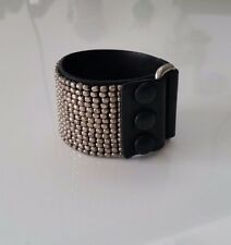 Chloe silver metal studded black leather bracelet