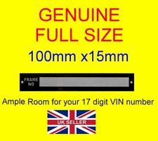 Car or Trailer Chassis VIN Number plate Box Trailer Horse box bike Trailer blank
