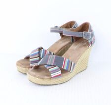 Toms Shoes Womens Size 8.5 Sienna Wedge Strappy Sandals Heels Multi-Color Stripe