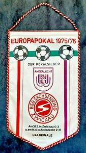 Orig. DDR Wimpel Sachsenring Zwickau RSC Anderlecht EC 1975/76 pennant fanion