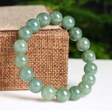 Pure Jade Jadeite Handmade Bracelet From Burma Green Color 10MM
