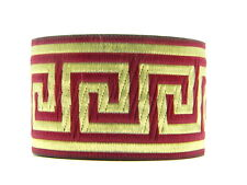 10.9yds  Jacquard Woven Ribbon/Trim Greek Key Burgundy/Gold 2''