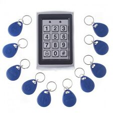 Metal RFID Card Door Entry Access Control Keypad Password Keypad+10 ID Keyfobs