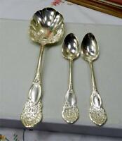 3 PC H SEARS AND SON ANTIQUE SILVER PLATED SCROLL HANDLE 1 SERVING & 2 TEASPOONS