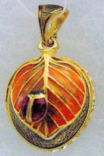 Silver Russian Handmade Faberge Egg Pendant #PD-12-066-3 LADYBUG ON LEAF