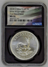 2018 S. Africa 1 oz Silver Krugerrand | Ngc Ms70 First Day of Issue | Flag label