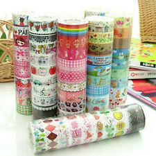 10 Rolls Lots Paper Colorful Sticky Adhesive Sticker Decorative Washi Glue Tapes