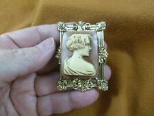 (CM45-25) UNUSUAL ART DECO Style LADY rectangle tan + ivory CAMEO Pin pendant