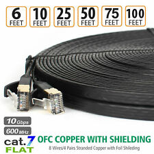 10Gbps Cat7 Ethernet Cable Lan Network RJ45 Patch Flat Cable Cord For Laptop PC.