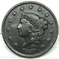 1837 Penny Coronet Head Large Cent - Original- Nice Coin.