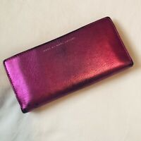 Marc Jacobs Hot Pink Fuschia Metallic Bifold Continental Wallet