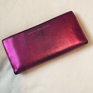 Marc Jacobs Hot Pink Fuschia Metallic Bifold Continental Wallet