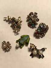 Vintage Animal & Floral 50's 6 Pin Lot Frog,Horse,Clover,Flower Bouquet Small Pc
