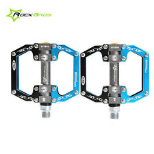 ROCKBROS Bike Aluminum Alloy Flat Pedal Sealed Bearing Bicycle Pedals Black Blue