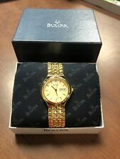 Bulova 97D29 Diamond Gold Tone Stainless Steel Watch w/ Day/Date Display