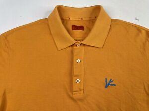 Isaia Napoli Men's Short Sleeve Cotton Polo Shirt Orange Size Large