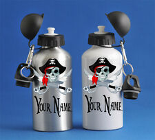 Pirate Skull Kids Water Sports Bottle Silver Or White School PE Gym Great Gift!