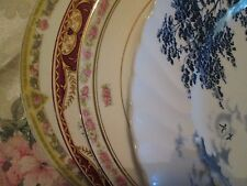 "Set 4 Vintage Mismatched China Dinner Plates 9 1/8"" to 9 3/4"""