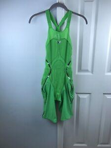 Speedo Pure Intent Size 27 Open Back Kneeskin | Speedo Tech Suit Green Glow