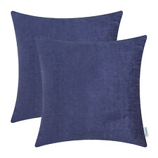 2Pcs Navy Blue Cushion Covers Pillow Shell Solid Dyed Soft Chenille 18X18Inches