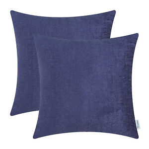 2Pcs Navy Blue Cushion Covers Pillow Shell Solid Dyed Soft Chenille 22x22Inches