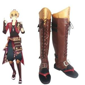 Game Genshin Impact Tohma Thoma Cosplay Shoes Women Men Brown Over Knee Boots