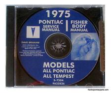 1975 Pontiac Shop Manual CD Catalina Bonneville Grand Prix Firebird Trans Am