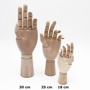 Gliederhand, Holzhand 18, 25 oder 30cm SAMAK-Holz FSC, bewegliche Modellhand