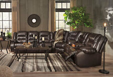 NEW Living Family Room Sectional BROWN Faux Leather Recliner Sofa Couch Set IF04