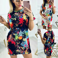 Women Short Sleeve Printed T-Shirt Dress Ladies Summer Holiday Tunic Mini Dress