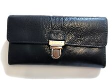 Accessorize Black Buff Leather Long Wallet Clutch Purse