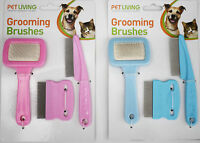 Cat/Dog/Rabbit Fine Grooming set 1 Brush 2 Combs Pink or Blue