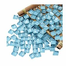 New Listing100 Pieces Mosaic Tiles Squares Crystal Mosaic Stained Glass Kits Light Blue