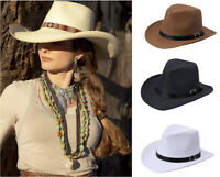 Classic Fedora Trilby Western Cowboy Cap Shapeable Straw Panama Summer Sun Hat