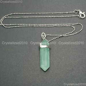 Natural Gemstones Hexagonal Pointed Reiki Chakra Pendant Necklace 18K Silver