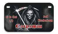 Grim Reaper Skull Motorcycle License Plate Personalize Name Text Gifts Goth